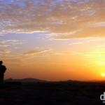 A sunset silhouette on Hemakuta Hill, Hampi, Karnataka, India. September 23rd 2012.