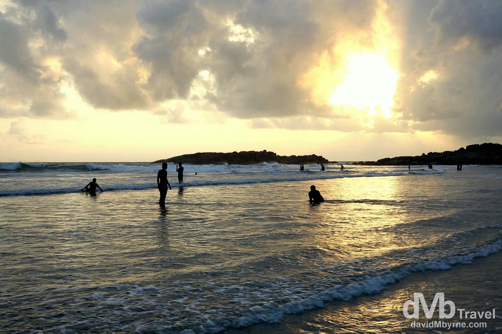 Sunset on Lighthouse Beach, Kovalam, Kerala, southwestern India. September 13th 2012.