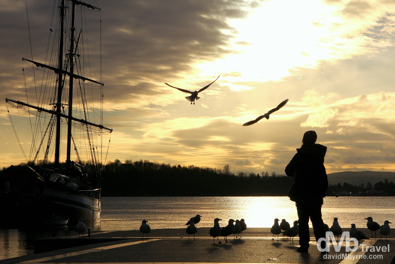 Sunset silhouettes & shadows by the waterfront in Oslo, Norway. November 29th 2012.