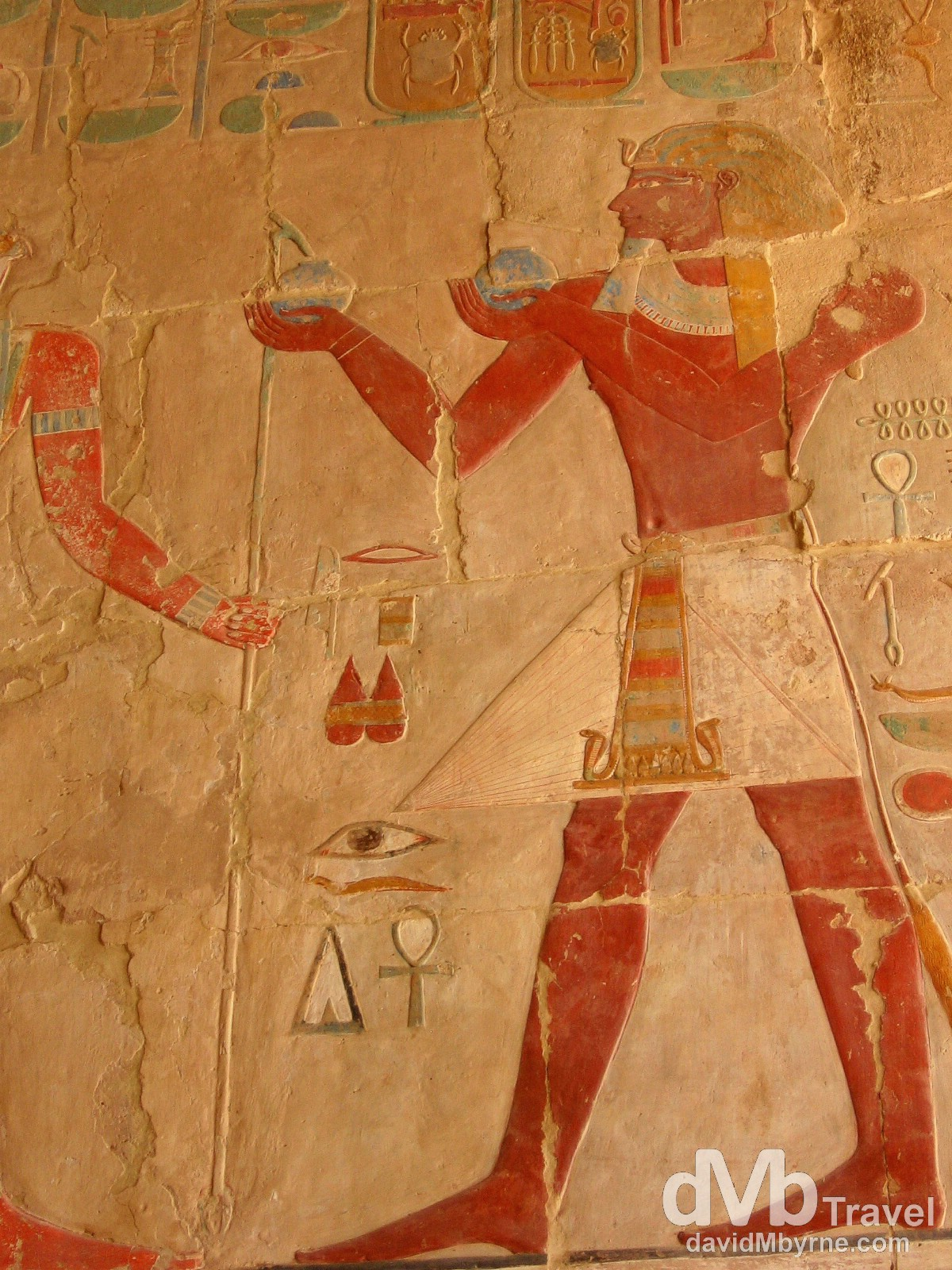 Ancient Egyptian symbols on the walls of the Funerary Temple of Hatshepsut in Luxor, Egypt. April 12th 2008.