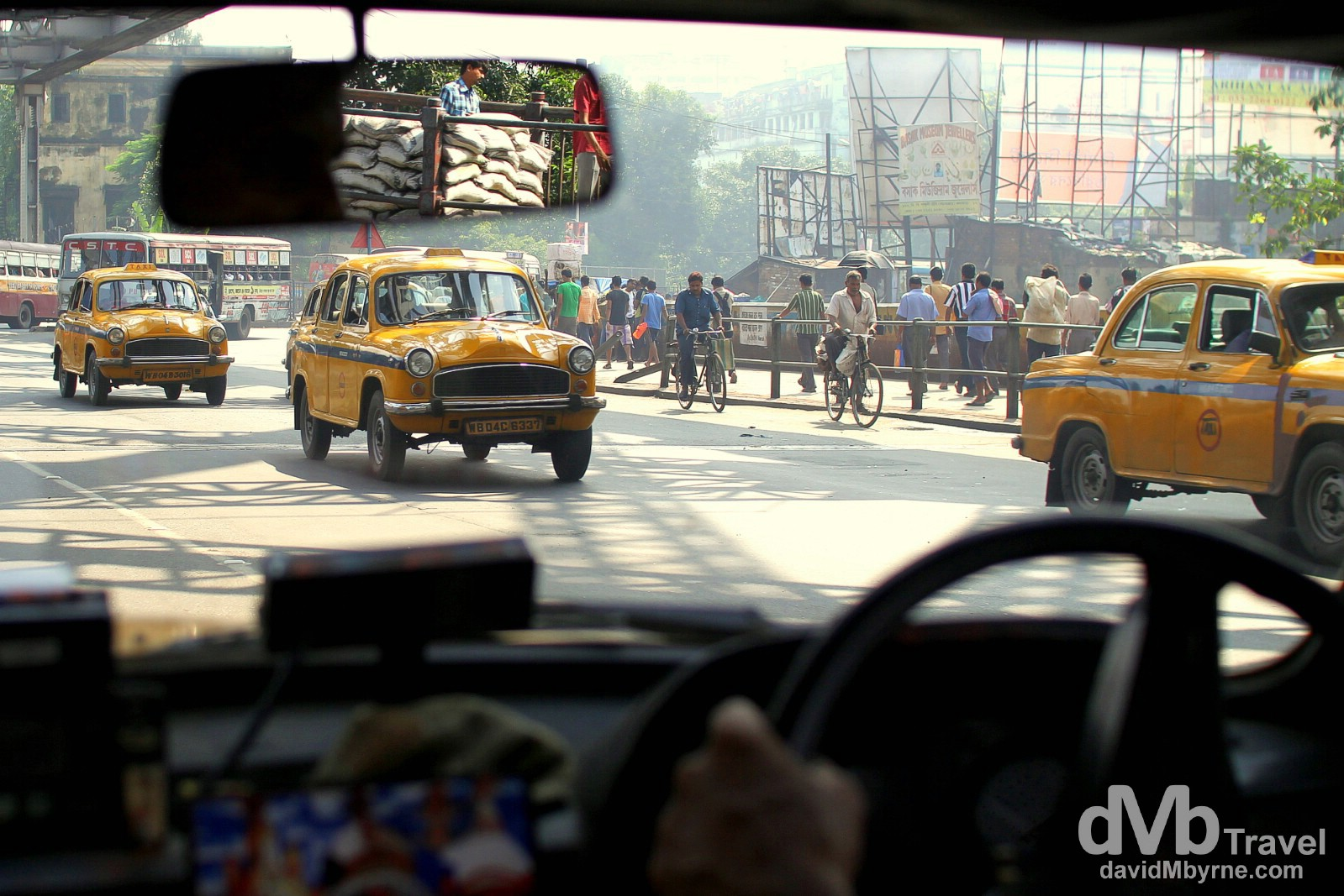 In a taxi on the streets of Kolkata (Calcutta), West Bengal, India. October 15th 2012.