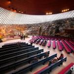 The interior of Temppeliaukio Church in Helsinki, Finland. November 24th 2012.