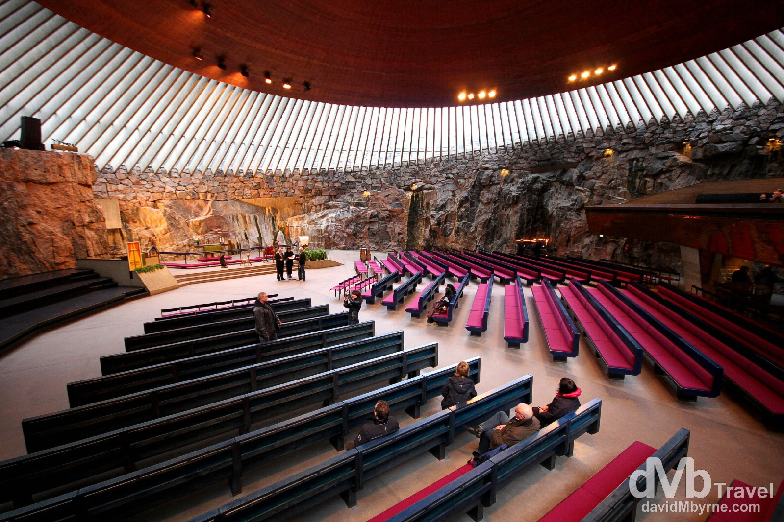 The interior of Temppeliaukio Church in Helsinki, Finland. November 24th 2012.