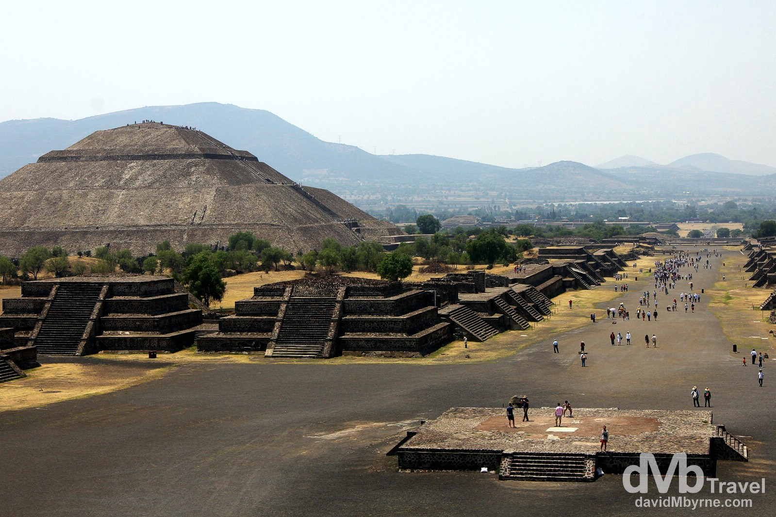 Looking towards the Piramide de la Sol (the Pyramid of the Sun) & down Calzada de los Muertos (the Avenue of the Dead) from the steps of the Piramide de la Luna (the Pyramid of the Moon) in Teotihuacan, Mexico. April 29th 2013.