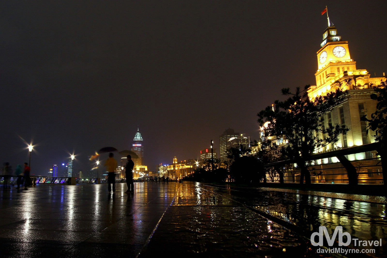A rainy night on the Bund in Shanghai, China. October 22nd 2012.