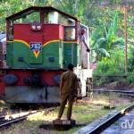 The Colombo-bound train entering Ella train station central Sri Lanka. September 5th 2012.