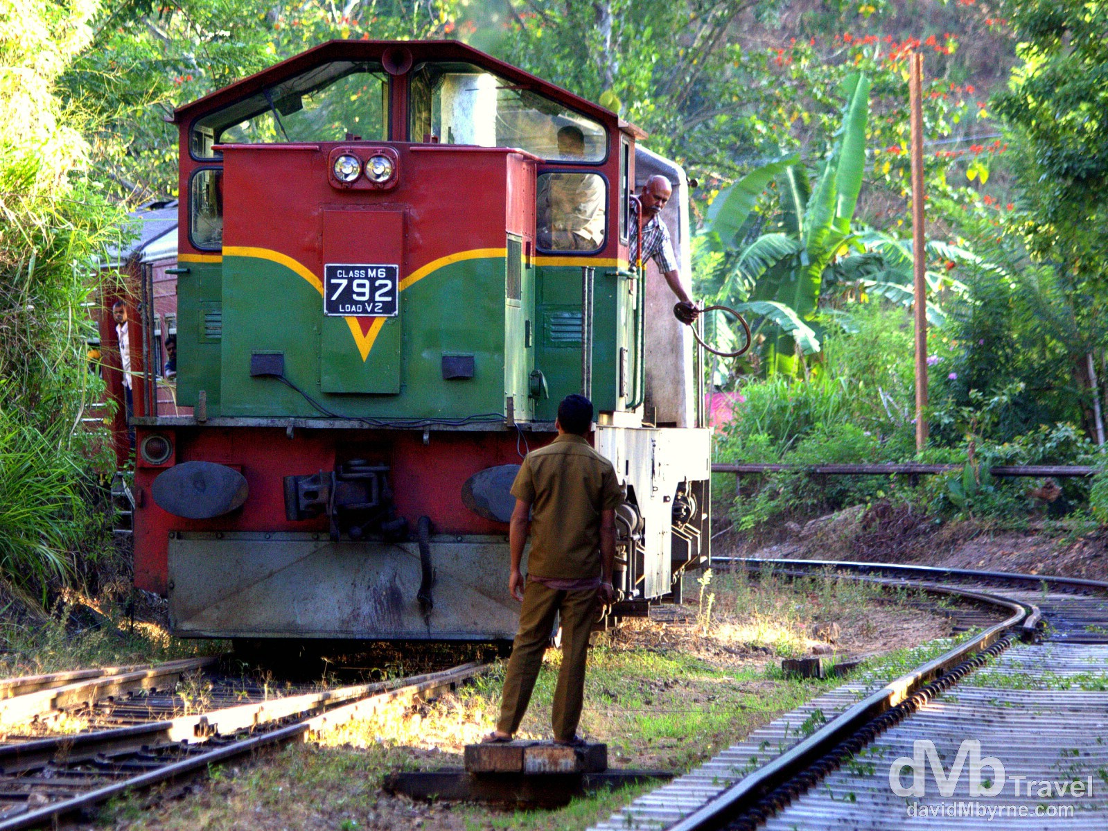 The Colombo-bound train entering Ella train station central Sri Lanka. September 5th 2012.