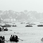 Boats on the Ganges River in Varanasi, Uttar Pradesh, India. October 14th 2012.
