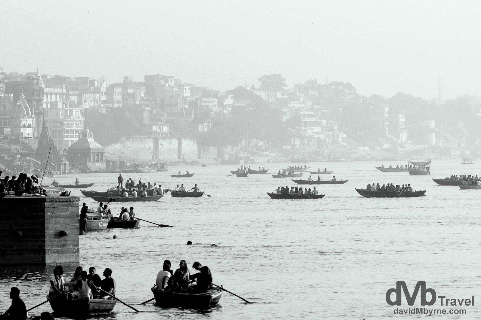 Boats on the Ganges River in Varanasi, Uttar Pradesh, India. October 14th 2012.