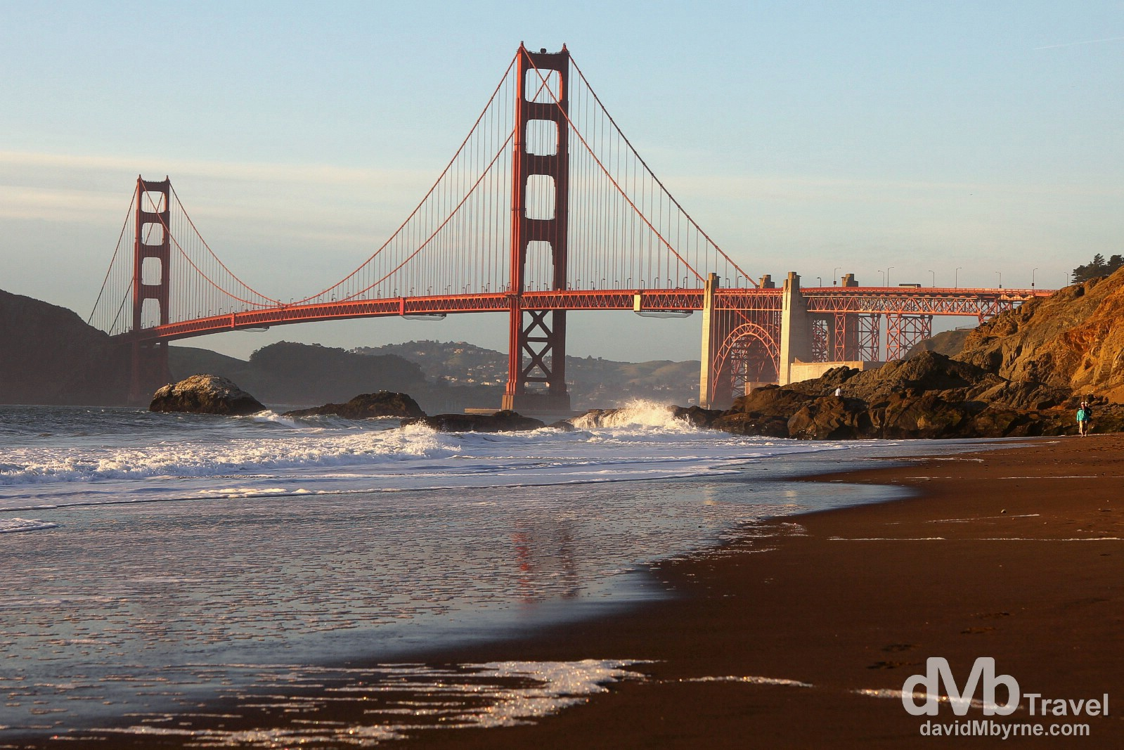 The Golden Gate Bridge as seen from Baker Beach nearing sunset, San Francisco, California, USA. April 10th 2013.