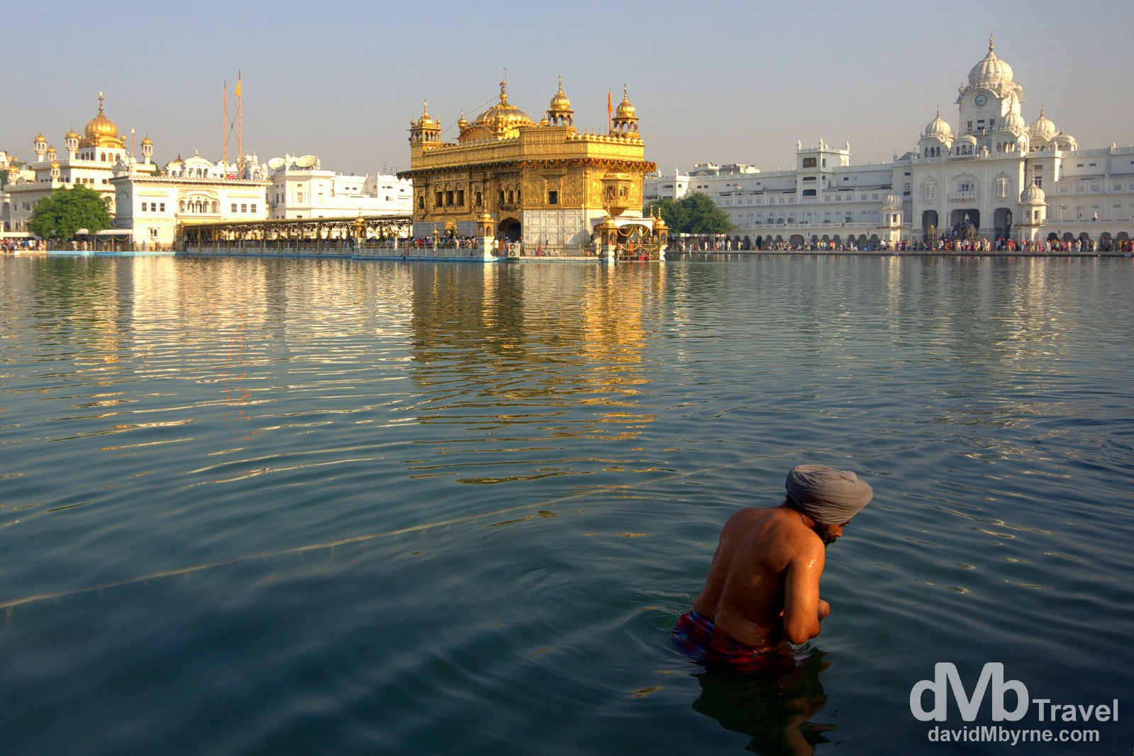Bathing in the Amrit Sarovar (Pool of Nectar) in the Golden Temple complex, Amritsar, India. October 9th 2012.