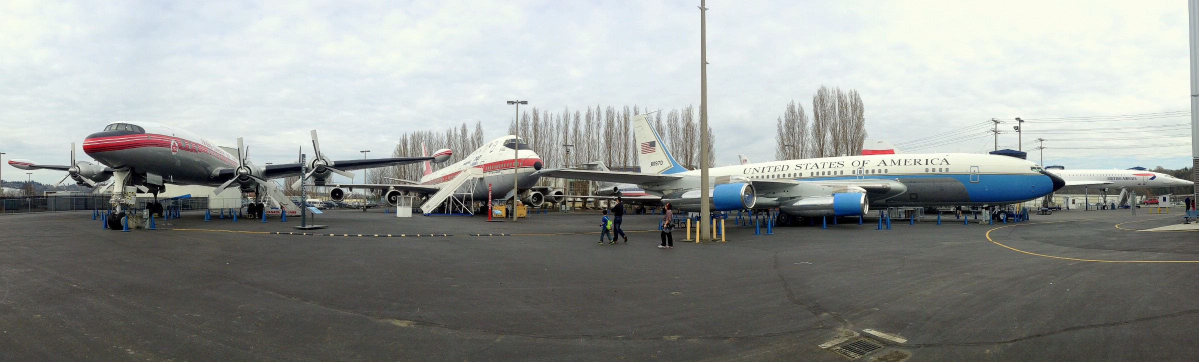 A panorama of the flight yard at The Museum of Flight, Seattle, Washington, USA. March 26th 2013.