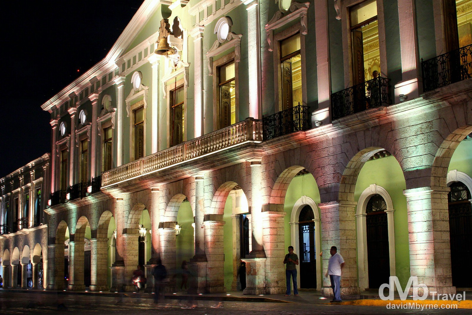 The Palacio de Gobierno on the north side of the plaza illuminated at night. It was built in 1892 on the site of the palace of the colonial governors but today houses the state of Yucatan's executive government offices. Merida, Yucatan Peninsula, Mexico. May 1st 2013.
