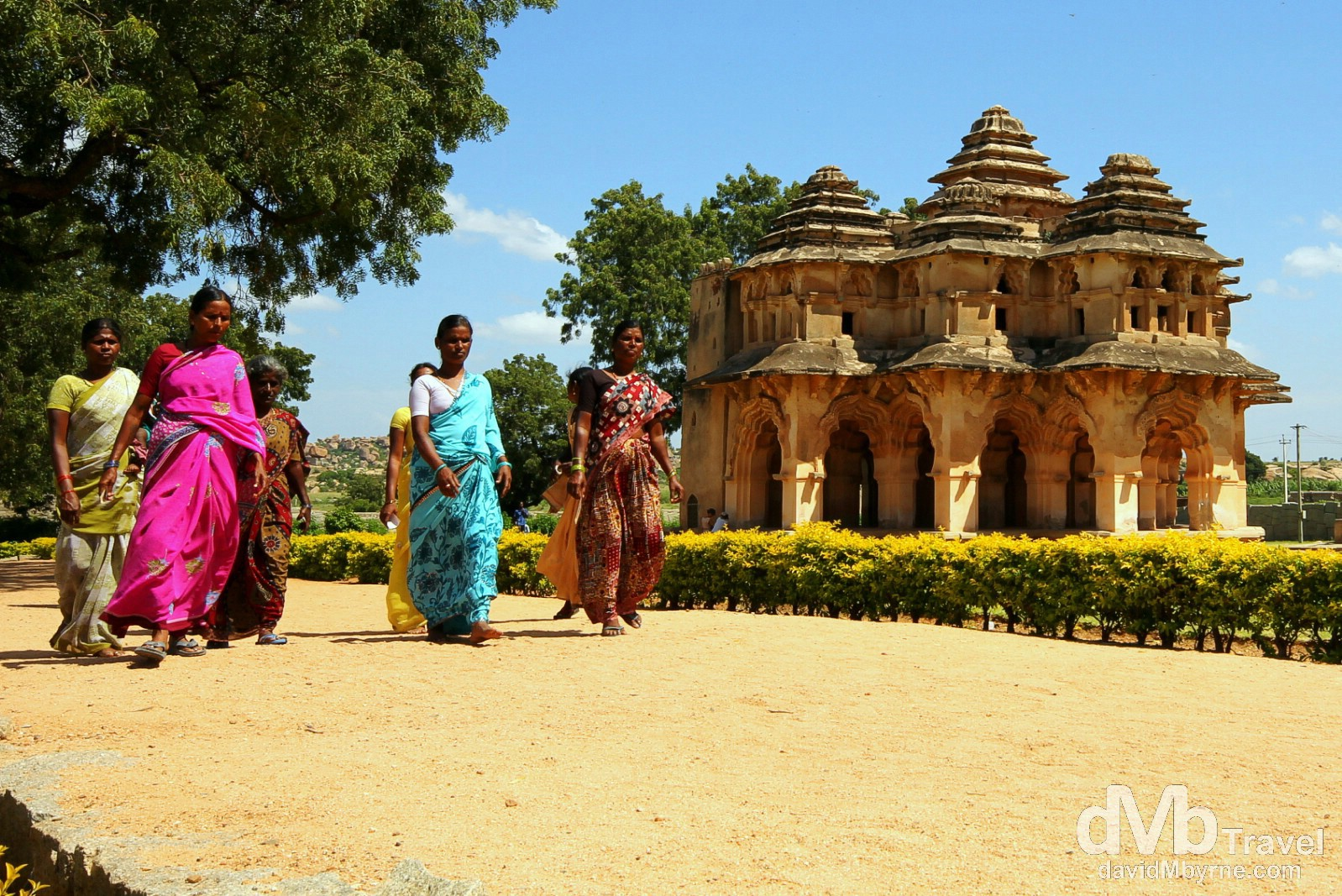 Walking in the The Royal Centre in view of the Lotus Palace. Hampi, Karnataka, India. September 24th 2012.