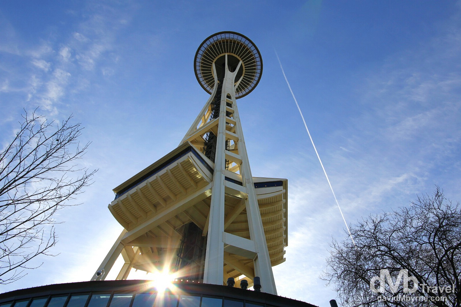 Sunburst from under the iconic Space Needle in Seattle, Washington, USA. March 25th 2013.