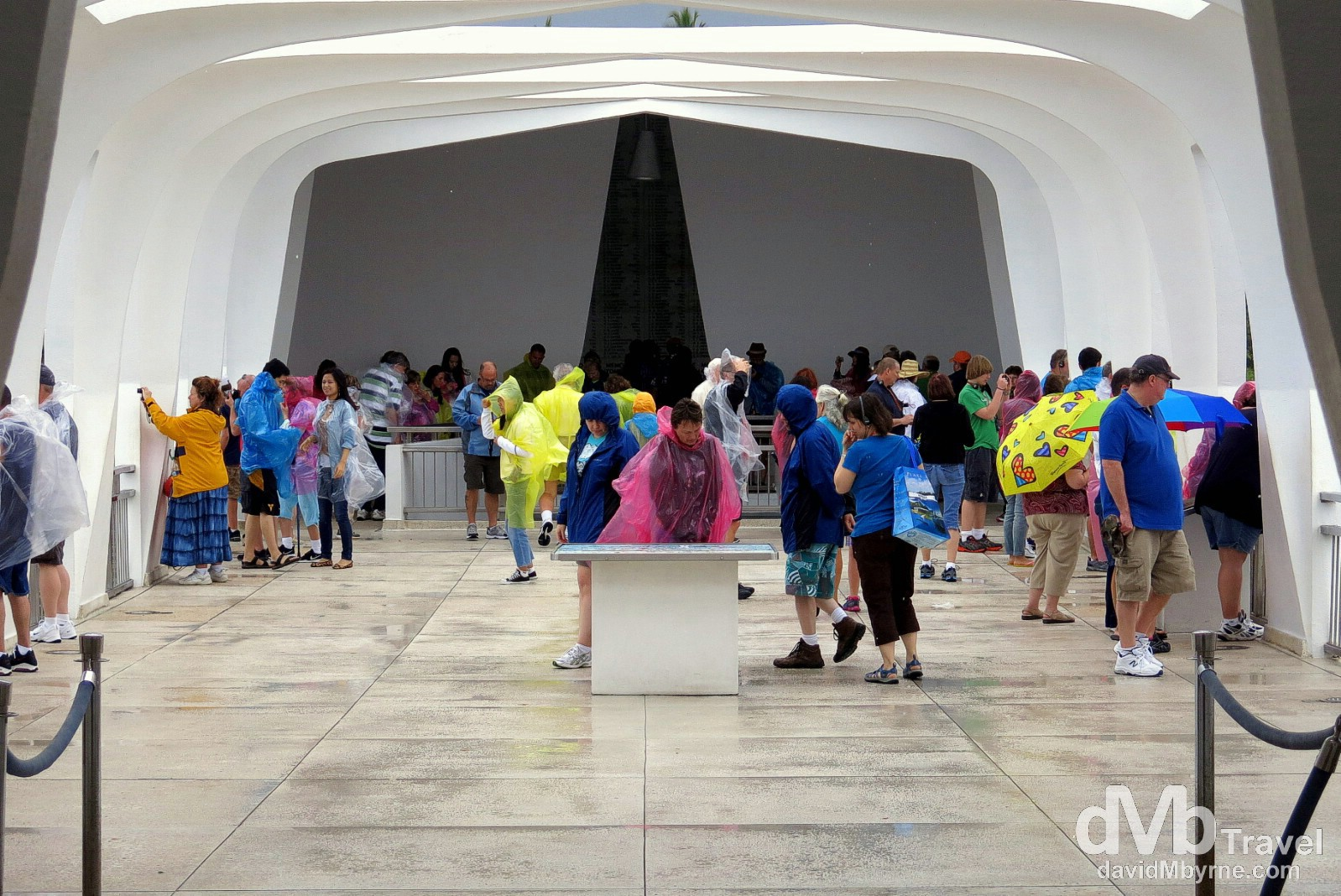 Windswept & wet inside the USS Arizona Memorial in Pearl Harbour, Oahu, Hawaii, USA. March 10th 2013.