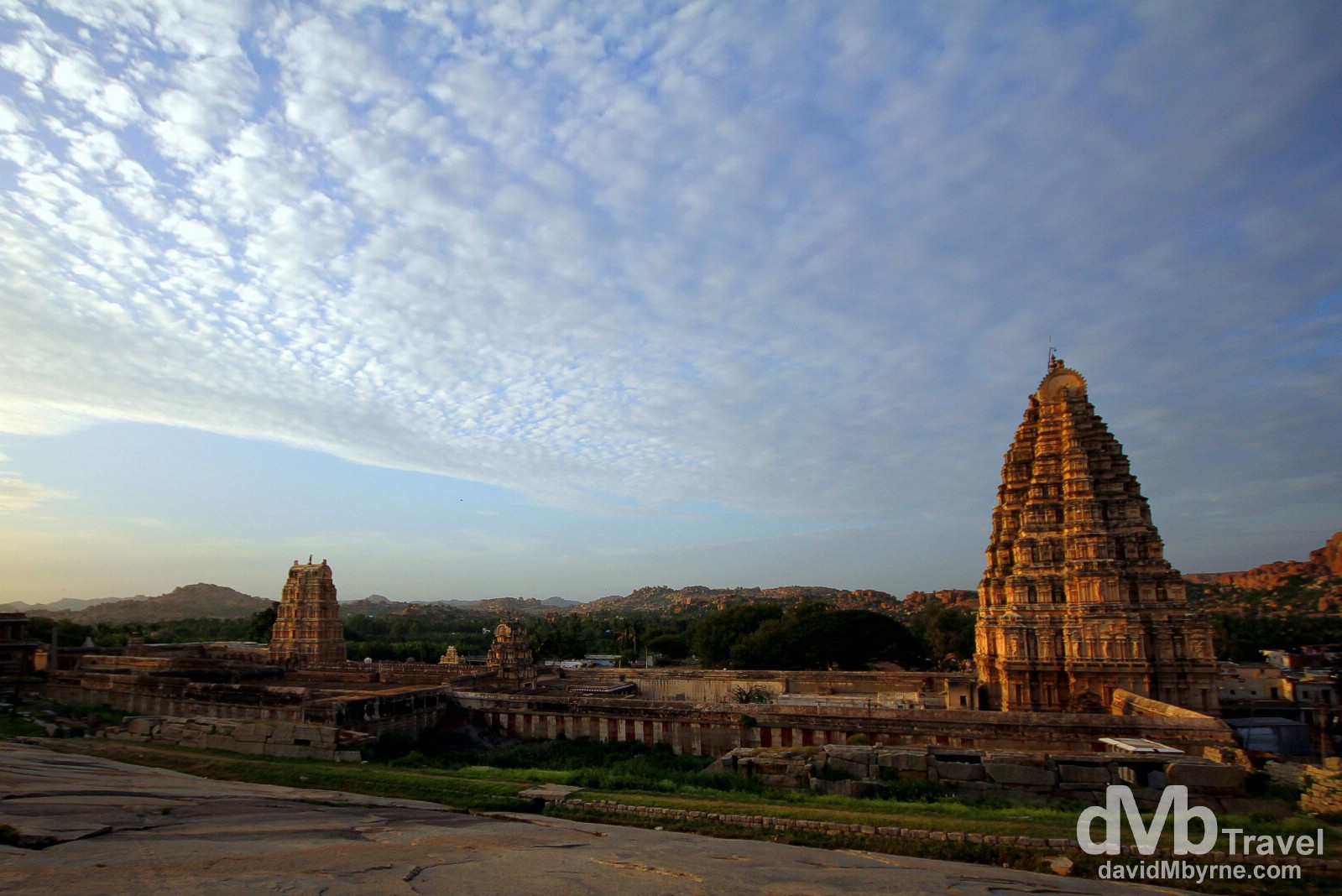 The Virupaksha temple complex as seen from Hemakuta Hill near sunset. Hampi, Karnataka, India. September 23rd 2012.