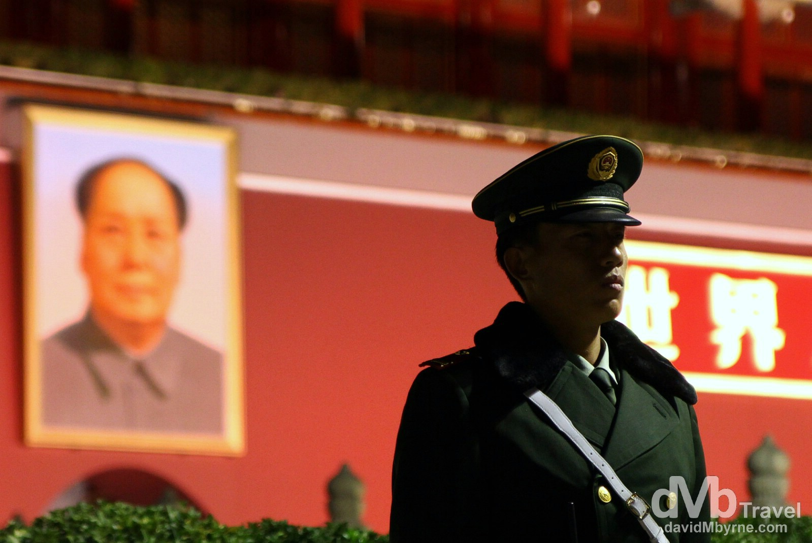 Standing guard outside of Tian'anmen Gate, Beijing, China. October 27th 2012.