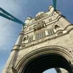 One of the two towers of the iconic Tower Bridge over the Thames River in London, England. March 5, 2010.