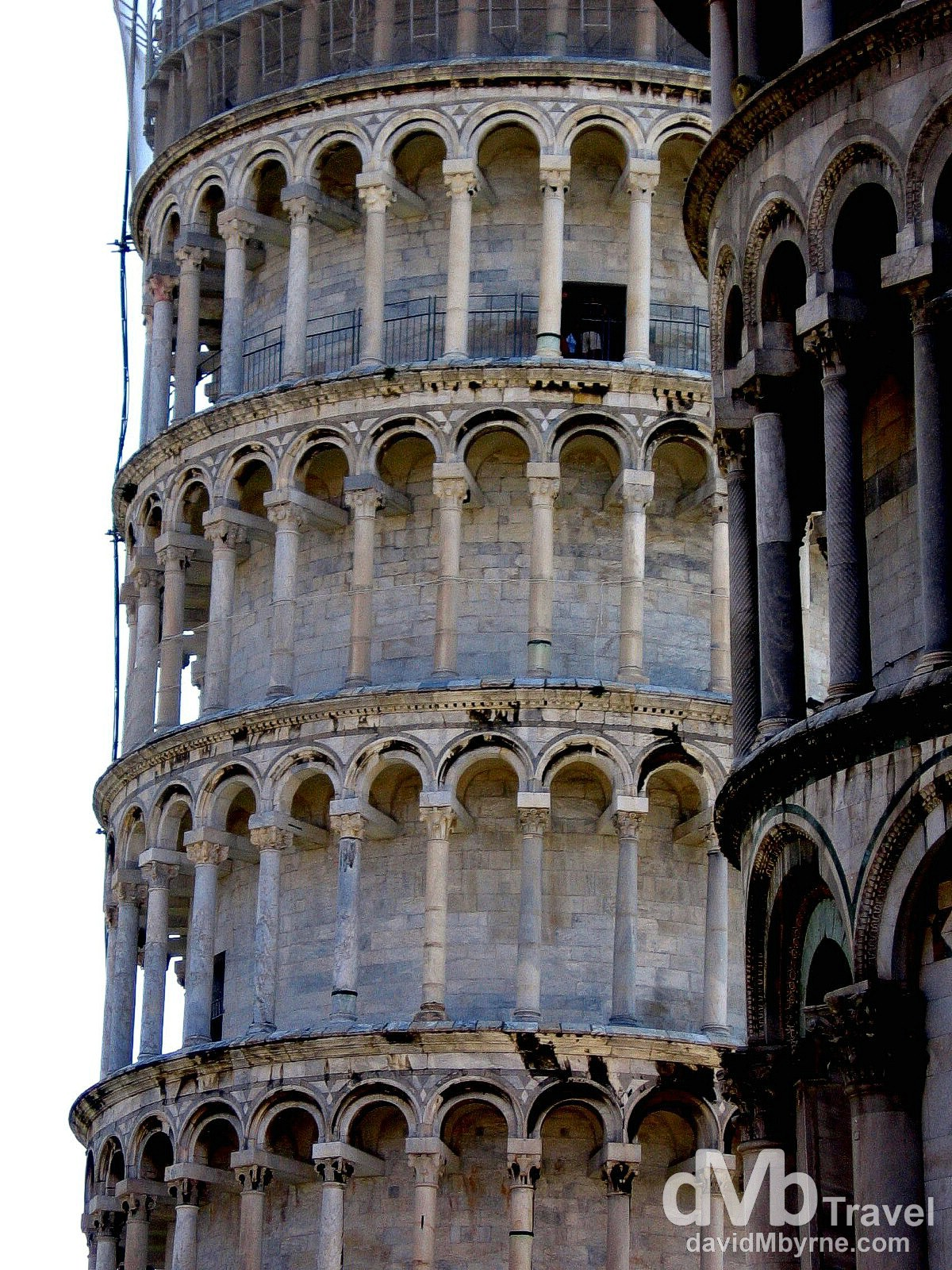 The famous leaning tower in Campo dei Miracoli (Field of Miracles), Pisa, Tuscany, Italy. August 31st, 2007.