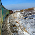The Trans-Siberian train winding its way through the Gobi Desert in central Mongolia during my first Trans-Siberian adventure. February 15th 2006.
