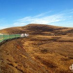 Travelling through the Mongolian grasslands en route to the Mongolian capital of Ulan Bator. October 31st 2012.