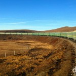 The Ulan Bator-bound train winding its way through the Mongolian grasslands. October 31st 2012.