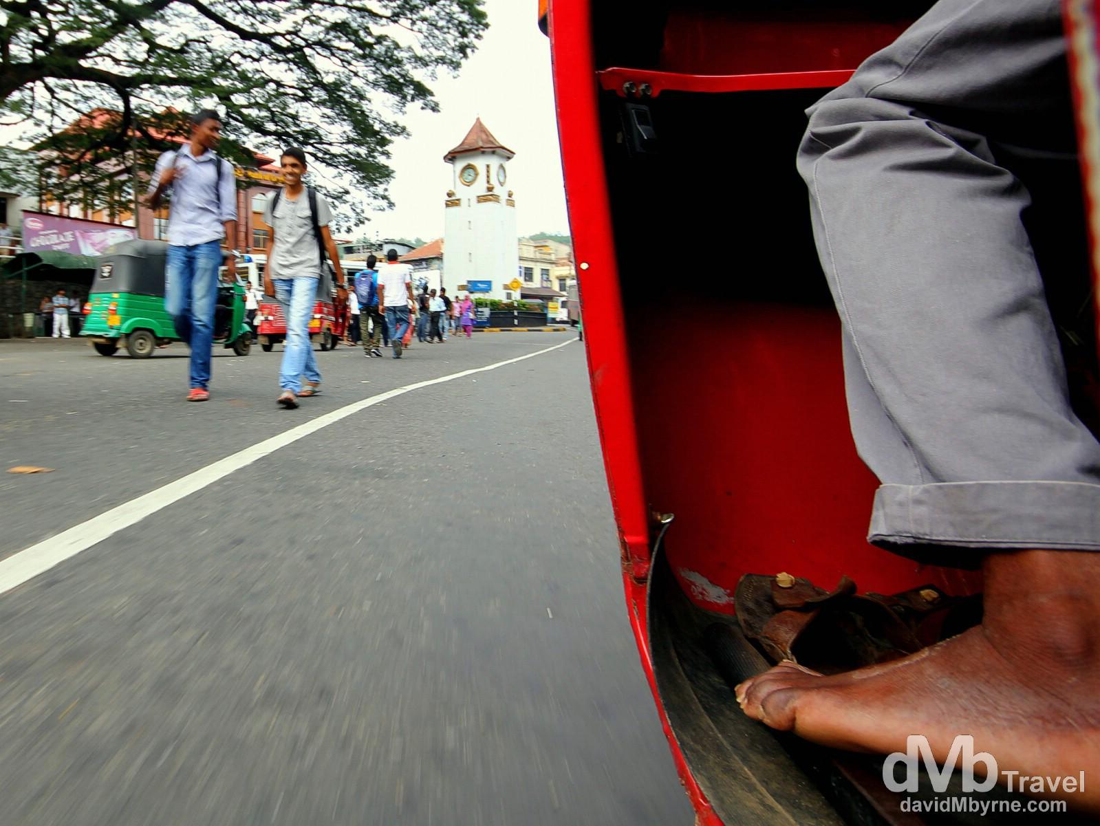 Riding a tuk-tuk on the streets of Kandy, Sri Lanka. September 9th 2012.