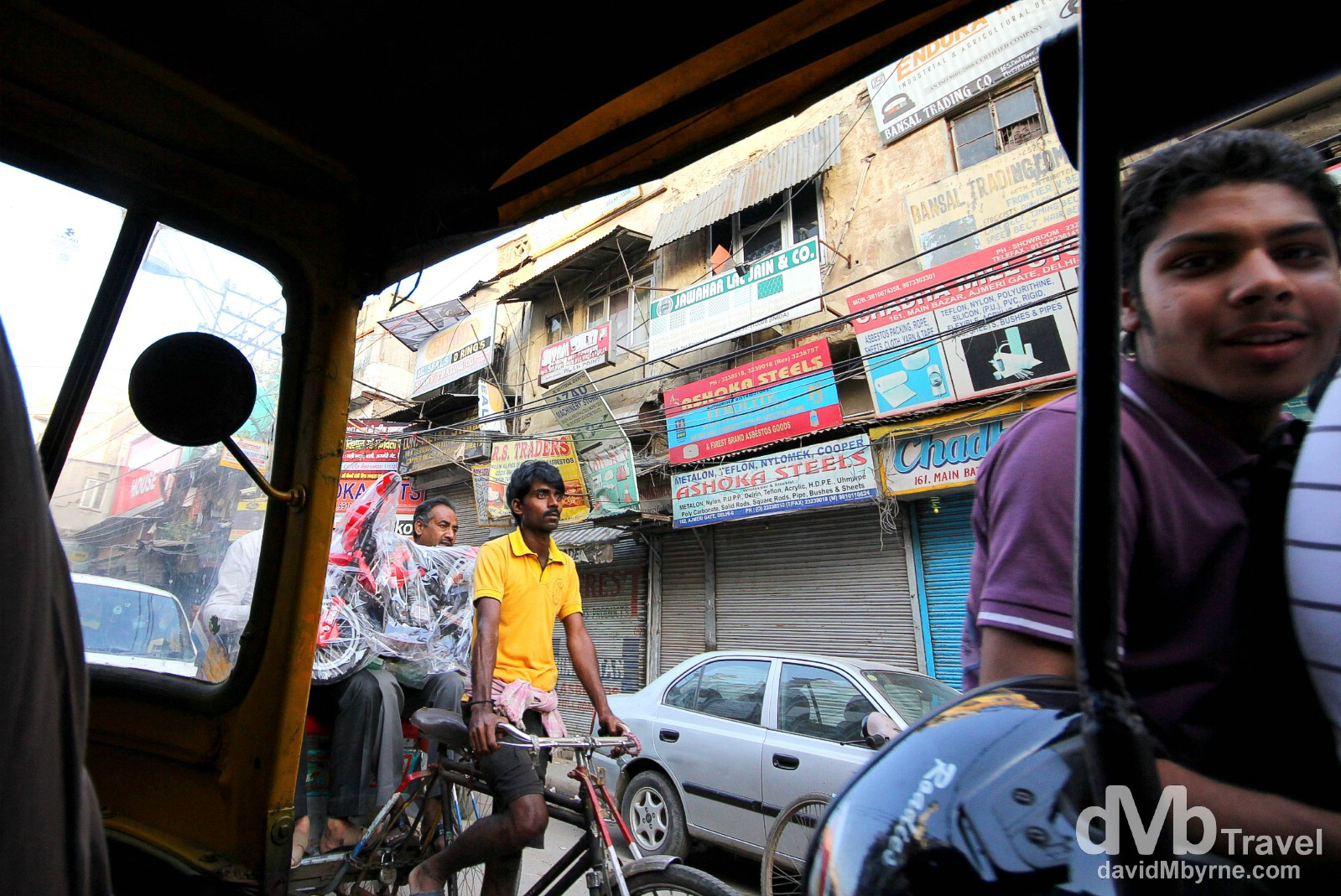 Tut tuk views on the streets of Old Delhi, Delhi, India. October 7th 2012.