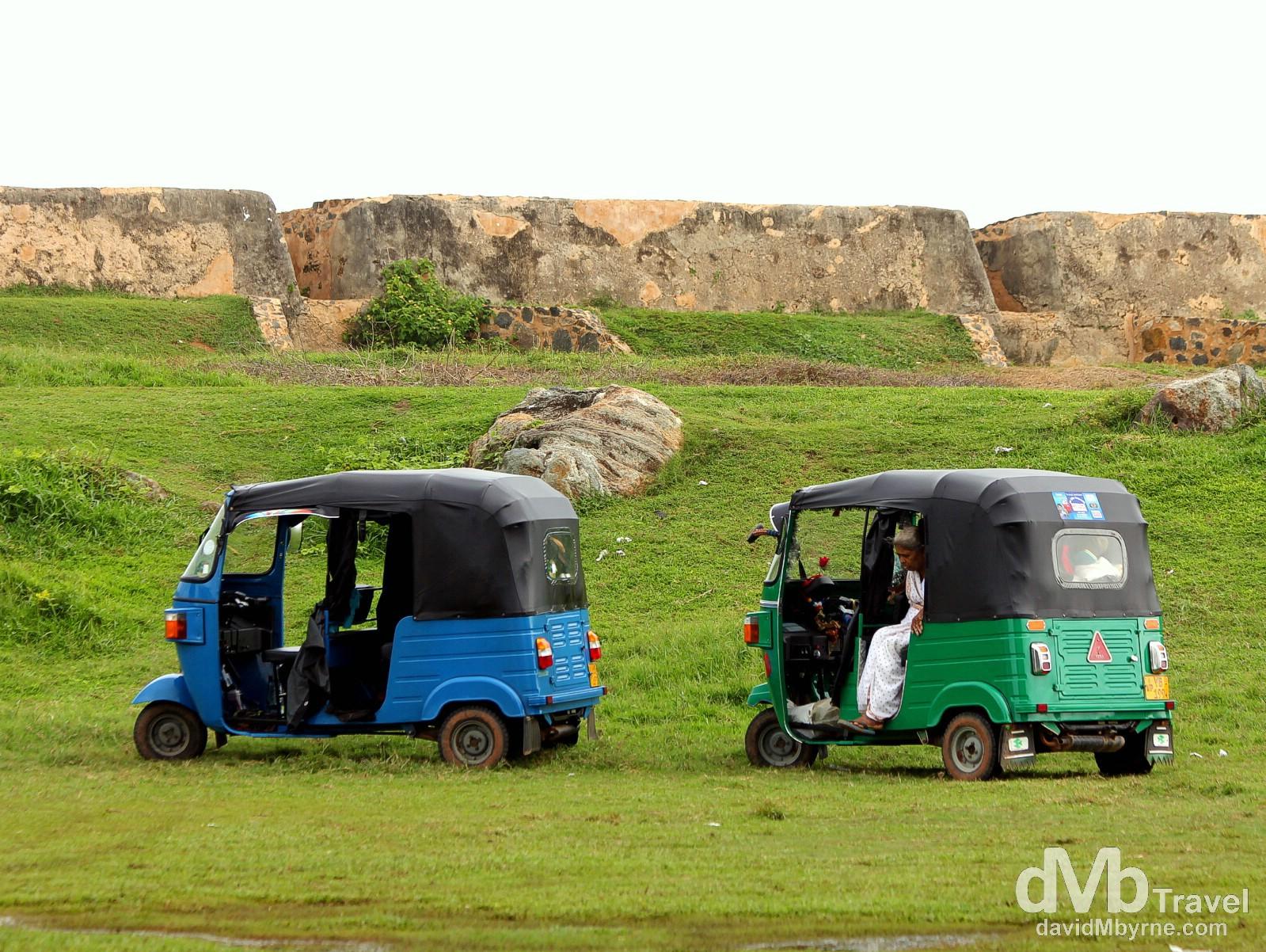 Tuk tuks in the grounds of Galle Fort, Galle, southern Sri Lanka. September 2nd 2012.