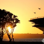 A section of USS Midway at sunset on Harbour Drive in San Diego, California, USA. April 16th 2013.