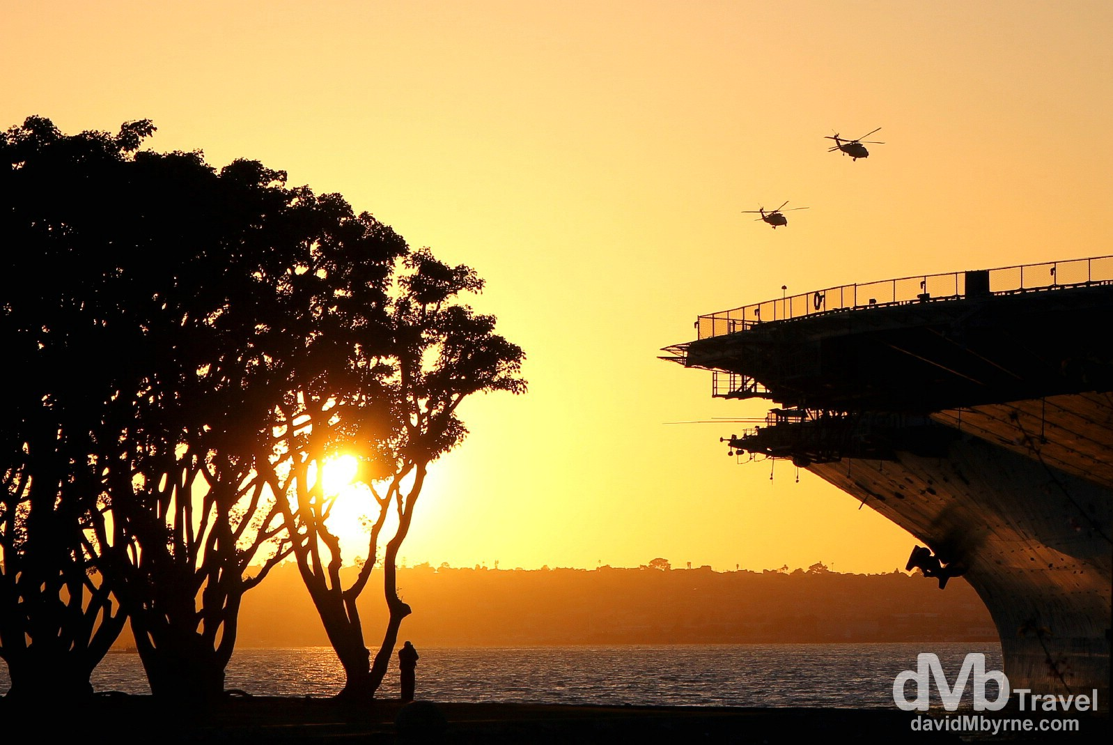 A section of USS Midway at sunset on Harbor Drive in San Diego, California, USA. April 16th 2013.