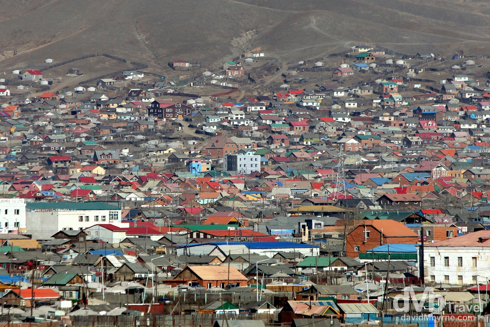 A section of Ulan Bator, Mongolia, as seen from Zaany Tolgoi, or Elephant's head, a hill overlooking the city. November 1st 2012.