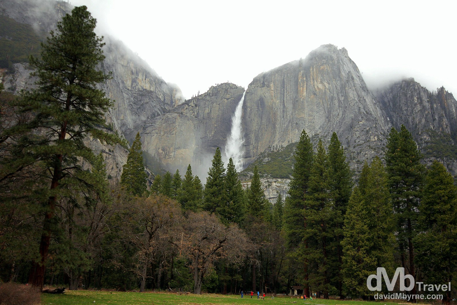 Upper Yosemite Falls as seen from the Yosemite Valley floor, Yosemite National Park, California, USA. April 1st 2013.