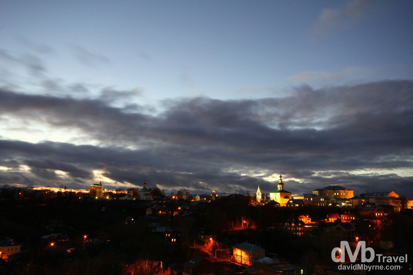 Churches dot the hills of Vladimir in a picture taken shortly after sunset. Vladimir, Russia. November 16th 2012.