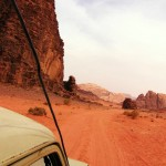 Driving through the red sands of Wadi Rum, Jordan. April 25th 2008.