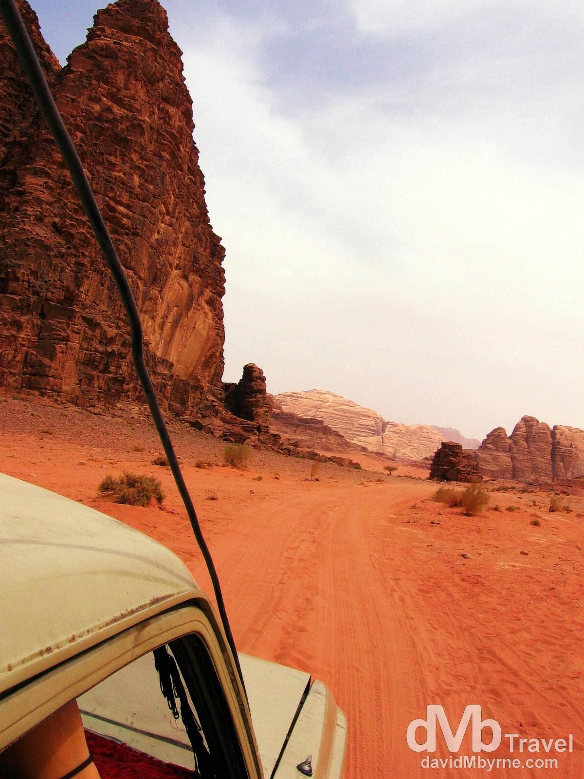 Driving through the red sands of Wadi Rum, Jordan. April 25th 2008.