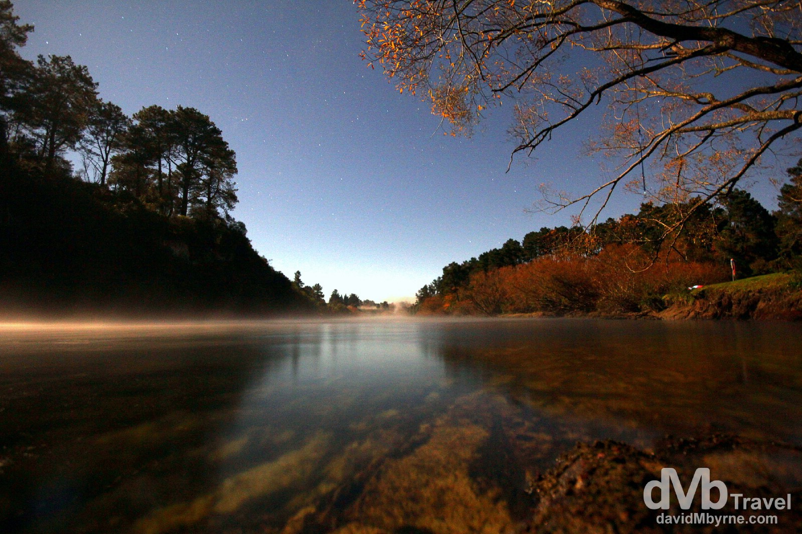 An extended exposure picture of the Waikato River, Taupo, North Island, New Zealand. May 6th 2012.