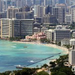 Waikiki Beach as seen from the summit of Diamond Head, Oahu, Hawaii, USA. March 11th 2013.