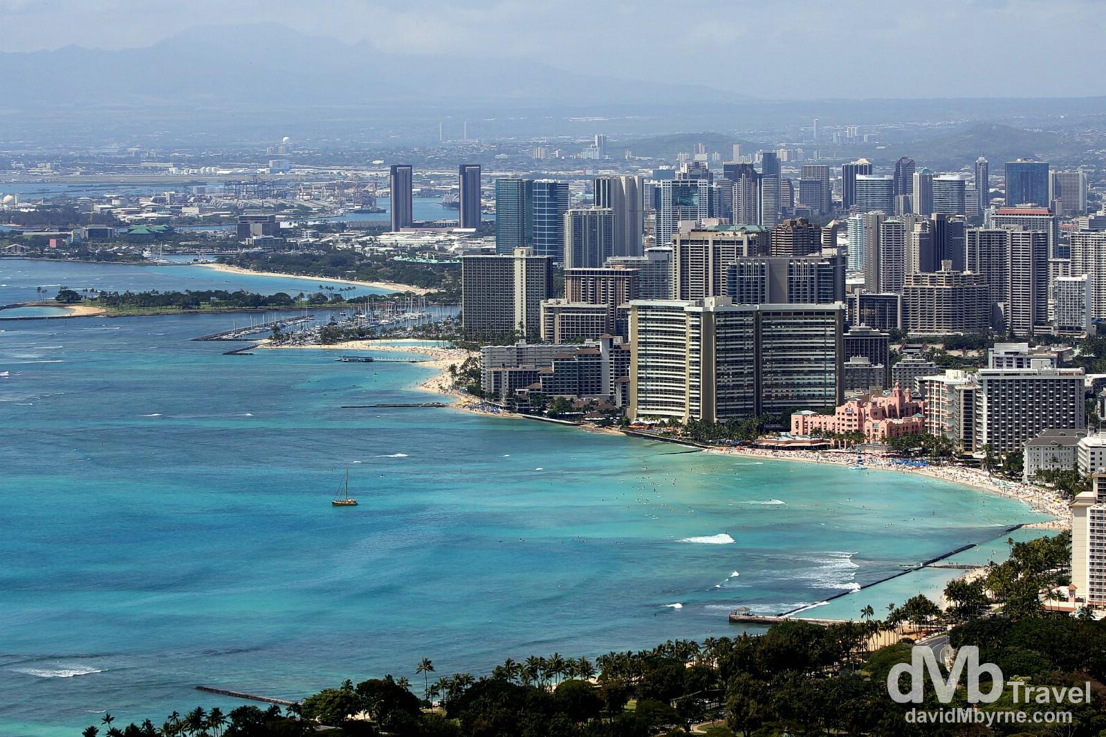 Honolulu & Waikiki Beach areas a seen from the summit of Diamond Head, Oahu, Hawaii, USA. March 11th 2013.