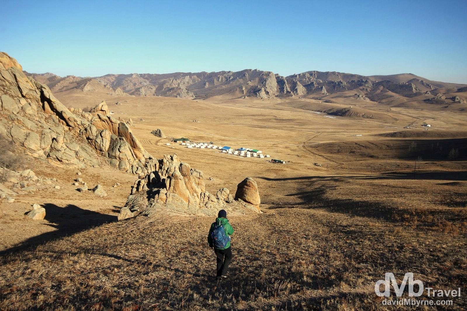 Walking in Terelj National Park, Mongolia. November 3rd 2012.