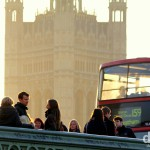 Activity on Westminster Bridge at sunset. London, England. December 8th 2012.