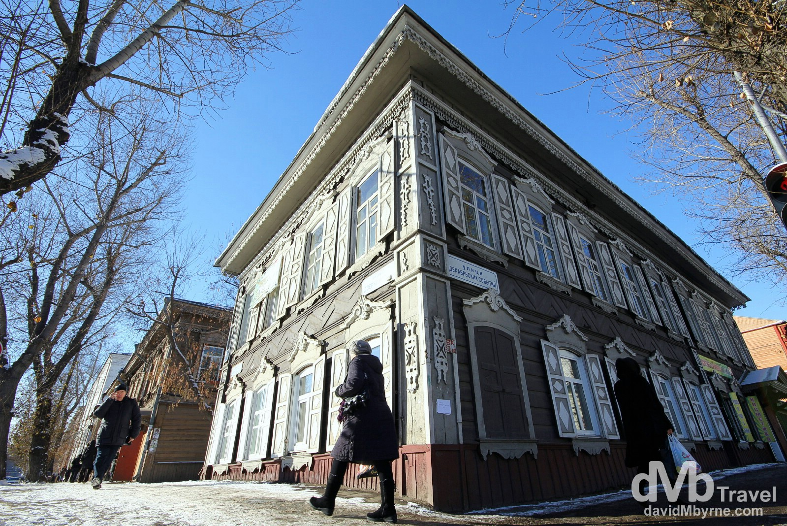 A typical Siberian wooden building on the streets of Irkutsk, Siberian Russia. November 7th 2012.