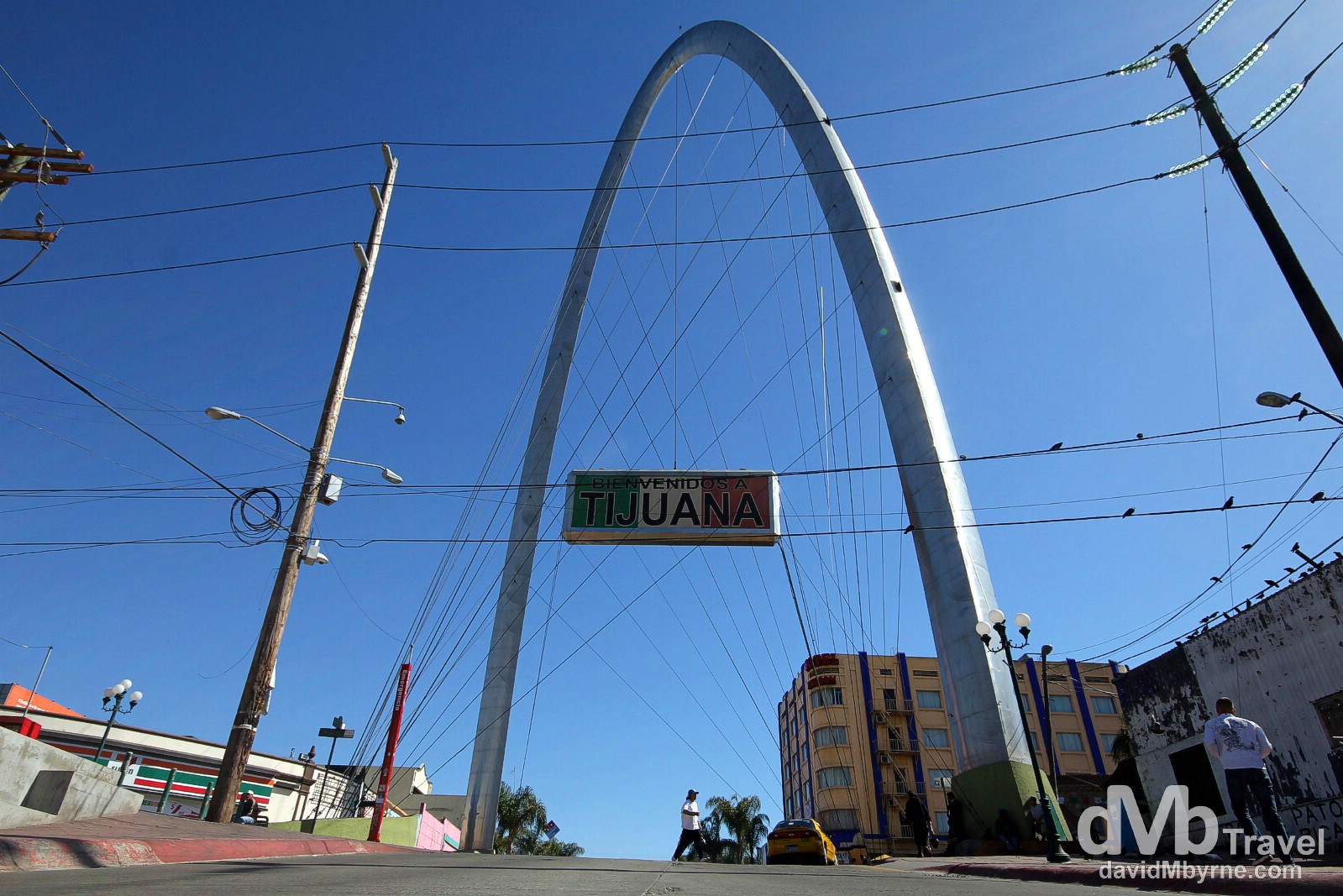 The Arch, Avenue Revolucion (La Revo), Tijuana. This is a picture of the town's arch, a massive landmark at the end of La Revo, Tijuana's touristy area. I got talking to a destitute US expatriate on the street who told me the arch was initially designed to hold a clock but seemingly the budget wouldn't stretch to a clock when, if you'll pardon the pun, the time came. No credible sources were on hand to verify this titbit of information but I'll run with it anyway. Tijuana, Mexico. April 18th 2013.
