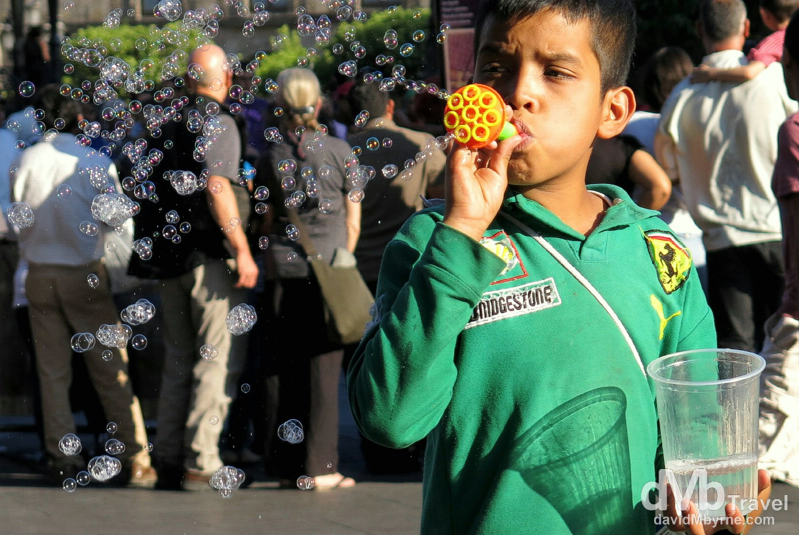 Blowing bubbles in Plaza de Armas, Guadalajara, Mexico. April 21st 2013.