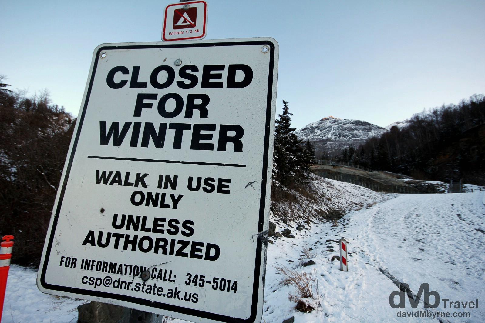 Closed for the winter. Seward Highway, Kenai Peninsula, Alaska, USA. March 12th 2013.