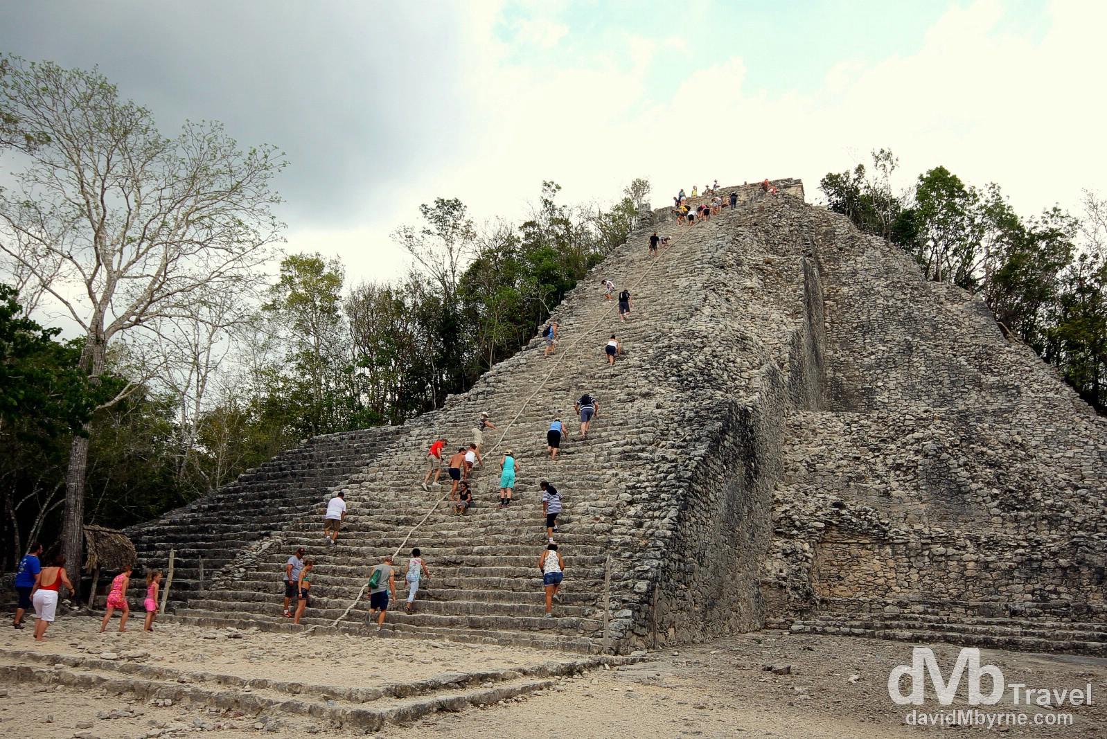 Climbing the Nohoch Mul (Big Mound), or Great Pyramid, at the Coba Mayan ruins, Yucatan Peninsula, Mexico. May 7th 2013.