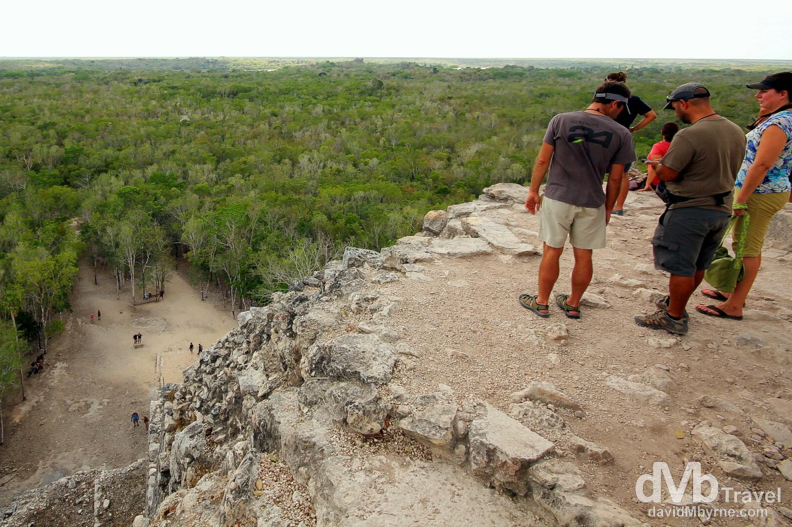 The view of the surrounding jungle from atop the Nohoch Mul (Big Mound), or Great Pyramid, at the Coba Mayan ruins, Yucatan Peninsula, Mexico. May 7th 2013.