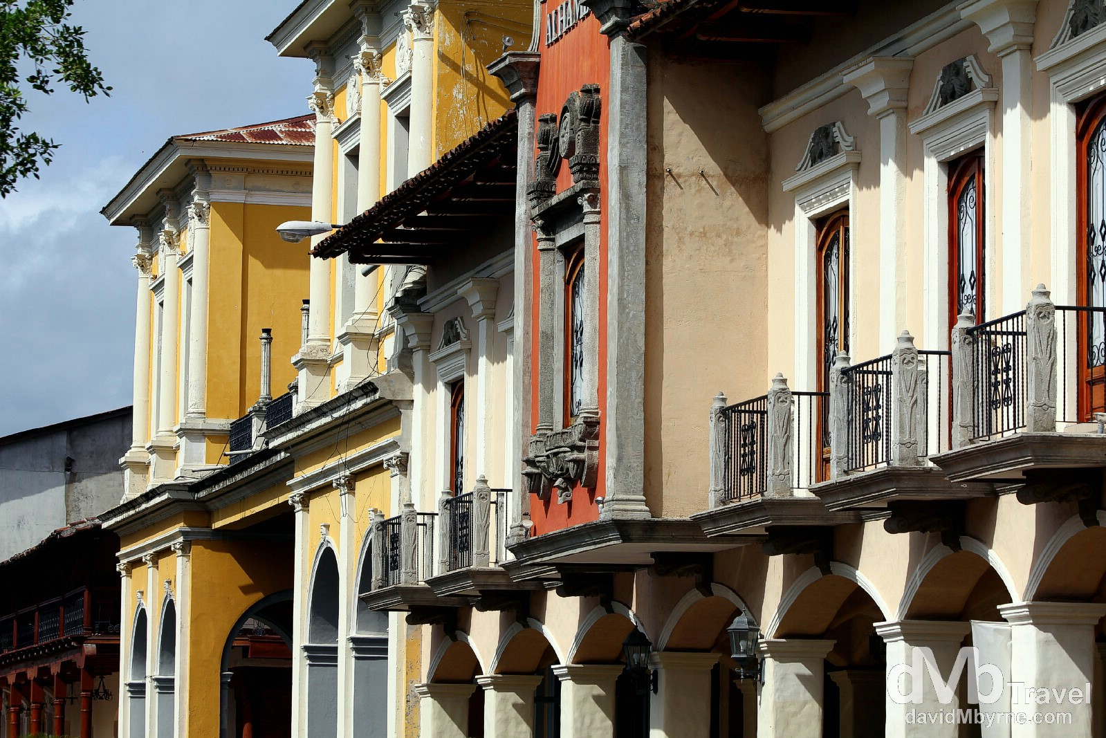 A row of colonial buildings off Parque Central, Granada, Nicaragua. June 19th 2013.