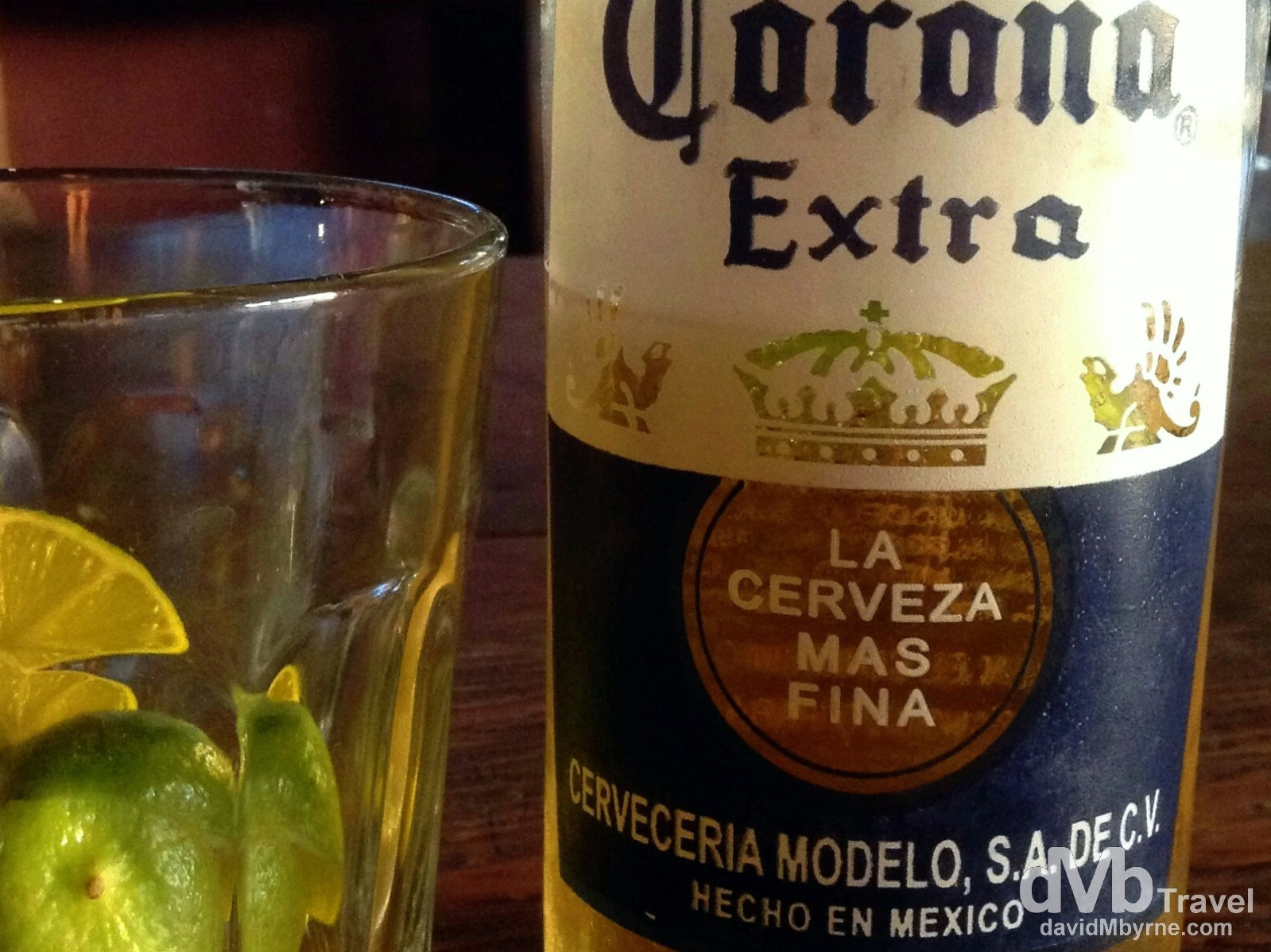 Only once will you ever have a first Corona in Mexico, and I had mine, all Billy No-Mates/Nigel No-friends like, in one of the dozens of empty bars lining Avenue Revolucion. So much for TJ's famed party scene, with swarms of not-yet-drinking-age Californians crossing the border to avail of the lower legal drinking age of 18 here in Mexico; most places were closed by 9pm. Pfft. Glad I'm leaving tomorrow. Tijuana, Baja California, Mexico. April 18th 2013. (iPod)